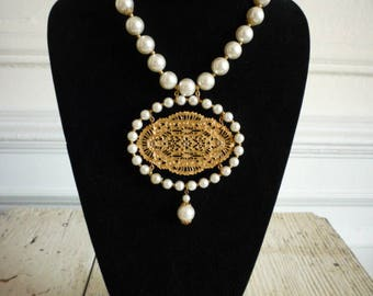 Vintage 14mm Faux Pearl Necklace With Large Oval Gold Tone Filigree Pendant