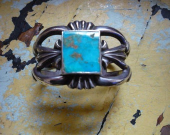 "Vintage Navajo Sterling Silver Sandcast Royston Highgrade Turquoise ""Royal Blue"" Cuff Bracelet"
