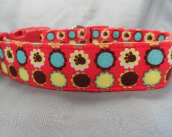 Red Dog Collar Paw Prints and Posies