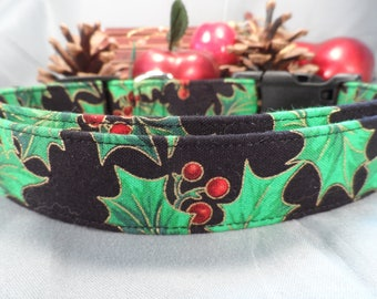 Dog Christmas Collar, Large Holly Print Christmas Dog Collar