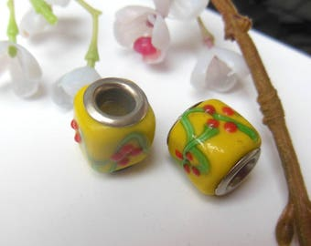 set of 2 style lampwork glass beads