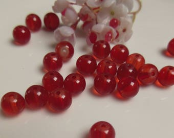 set of 15 round red glass beads