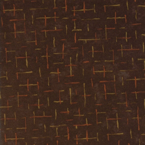 Dark Brown Flannel With Dark Criss Crossed Hash Lines From Holly Taylor Fall Impressions Moda Fabric By The Yard 6704 14F