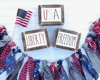 Patriotic mini signs, USA, freedom, liberty signs, gift, Fourth of July, rae dunn inspired sigs