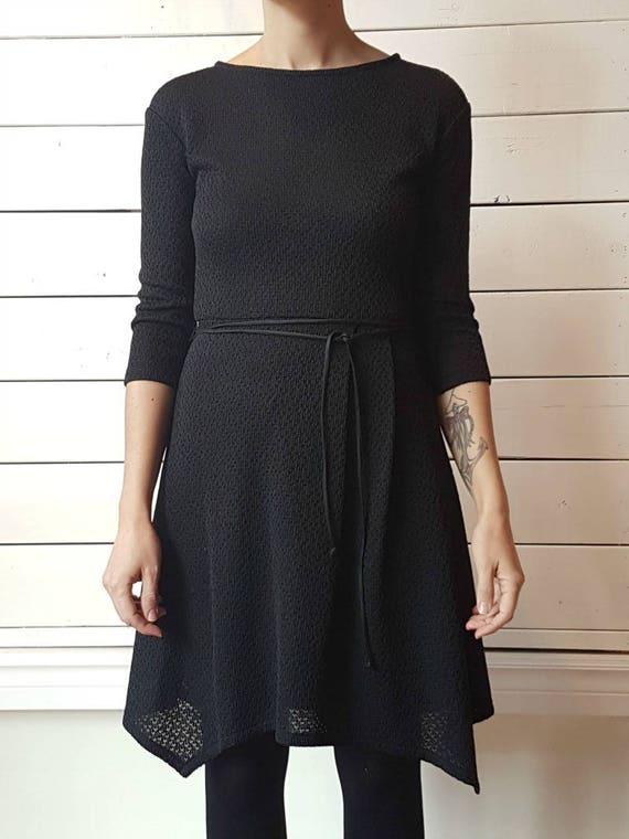 COME AS YOUARE - skater dress with three-quarter dress for women - black