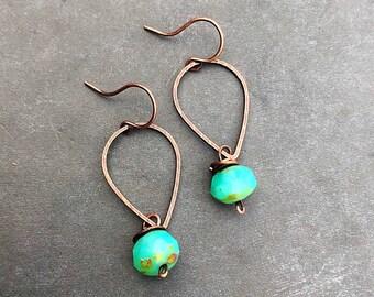 Boho earrings blue earrings mint earrings copper earrings dainty earrings drop earrings dangle earrings neutral earrings czech glass gift