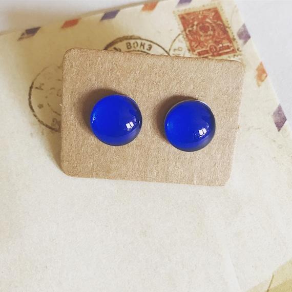 Navy Blue Glass Stud Earrings. Hypoallergenic surgical steel glass tile.