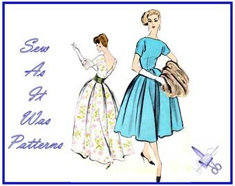 "1950s Women's Flared Skirt Bateau Neckline Kimono Sleeves Evening Cocktail Formal Dresses Vintage Sewing Pattern Vogue 9378 Size 10 Bust 31"""
