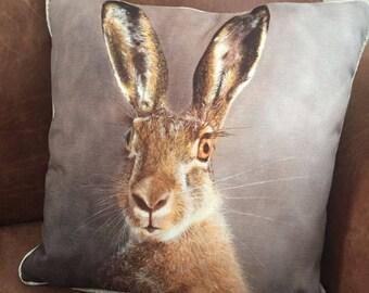 Stunning cushion of my WILD HARE oil painting, 43x43cm