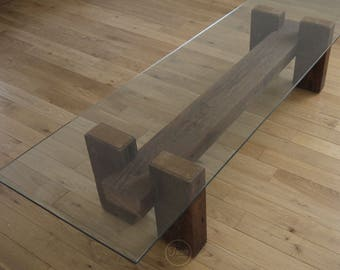 Beautiful Coffee Table. Reclaimed Wood And Glass Coffee Table. Handmade Coffee Table.