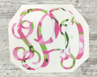 Lilly Pulitzer Decals, Lilly monograms, Preppy stickers, Monogrammed Lilly Pulitzer Decal Sticker