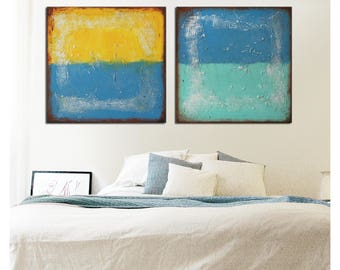 Acrylic Painting, Canvas Wall art, Abstract artwork - Once and Twice landscape  j41, Original, Modern Art, Ronald Hunter, original artwork