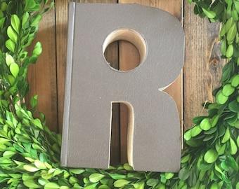 Book letter; letter R book letter, vintage book letter R