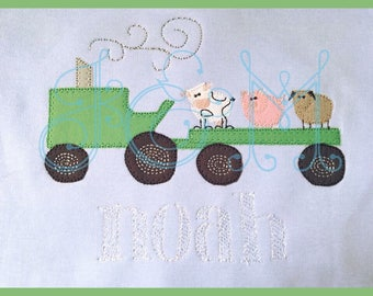 5x7 Farm Animal Tractor Hayride VIntage Style Applique Embroidery Design