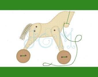 4x4, 5x7 and 6x10 Rocking Horse Pull Toy Button Vintage Style Applique Machine Embroidery Design