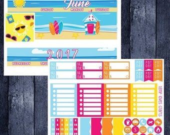 June Beach Monthly Stickers for HAPPY PLANNER