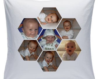 """Personalised White 18"""" Cushion - Collage - 7 Photos - Style 12 ( Can be purchased with or without the inner padding )"""