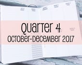 Traveler's Notebook B6 Size Week on Two Pages in VERTICAL Layout {Q4 | October-December 2017} #800-34