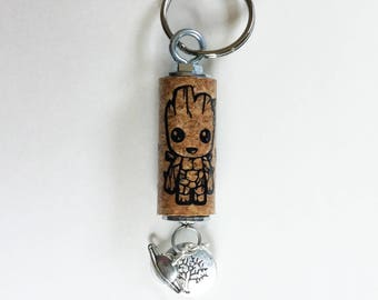 Keychain, cute keychain, character keychain, Groot keychain, cork keychain, vinyl keychain, save our planet