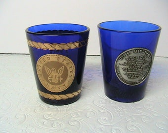Shot Glasses, USS Missouri and Pearl Harbor Shot Glasses, Pair of Cobalt Blue Shot Glasses