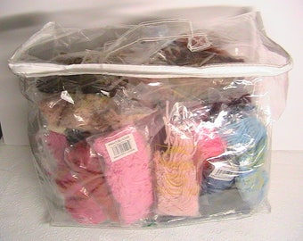 Latch Hook Rug Yard, Lot of Cut Latch Hook Yard Pieces, Assorted Colors, Large Lot
