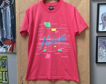Vintage Nashville Shirt 1990's Geometry Hot Pink Screen Stars Best Made in USA
