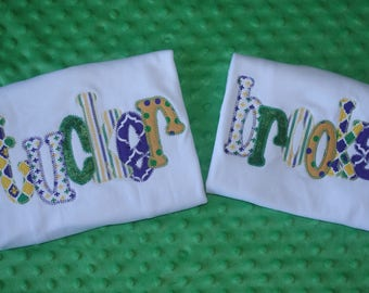 Personalized Mardi Gras Name Appliqued Shirt