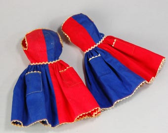 Vintage Barbie clothes two dresses red and blue Fancy Free # 943