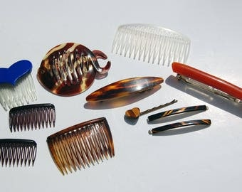 Vintage hair accessories 11 pc lot Goody French plastic celluloid faux shell lucite hair combs clips bobbi pin blue heart comb burnt orange