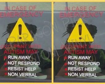 ICE Autism Decal 2 pack- Emergency Alert- Medical Alert- Special Needs Alert- Autism Alert - Car decal - deaf alert - deaf - autism