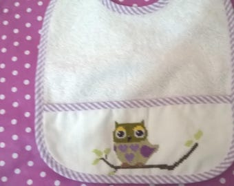 baby purple OWL hand embroidered Terry bib