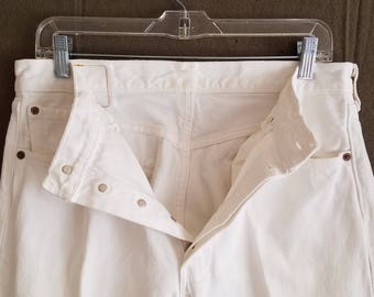 501 Levi's Jeans All White 34x30 Button Fly 90s American Made USA