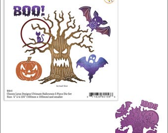 Ultimate Halloween cutting dies - Cheery Lynn metal Die set B841 - ghost pumpkin tree bat moon cat  Cuttlebug & most machine compatibility