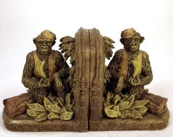 Monkey bookends, vintage bookends, library decor