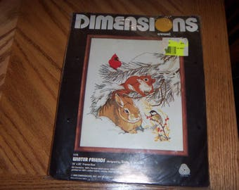 Vtg New 1980 Dimensions Crewel #1175 Winter Friends Kit