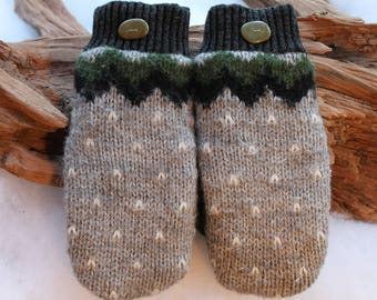 Wool sweater mittens lined with fleece with Lake Superior rock buttons in gray, green, black, and white, Christmas, coworker gift, winter