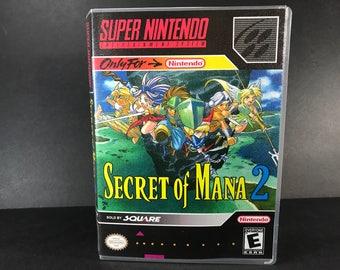 Secret if Mana 2 ROM Hack Fan Made Game Super Nintendo SNES Custom Case