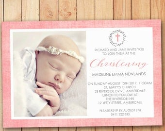 Wreath - pink christening or baptism invitation