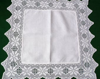 Vintage linen white hand crocheted table topper crochet lace small square tablecloth