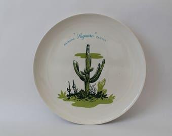 "Vintage 1950s Arizona Cactus Dinnerware ""Saguaro"" 10"" Dinner Plate"