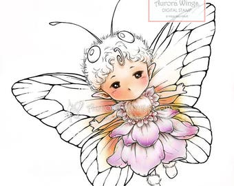 Digital Stamp - Butterfly Sprite with Simple Wings - Whimsical Insect Fairy - Fantasy Line Art for Cards & Crafts by Mitzi Sato-Wiuff