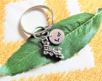 "3D SMALL TRAIN KEYCHAIN - with initial charm (fits 1-2 characters) - Read ""item details"" below and see all photos"