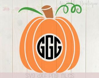 Pumpkin Monogram (pumpkin only), vines, thanksgiving, halloween, fall, SVG, PNG, DXF files, instant download