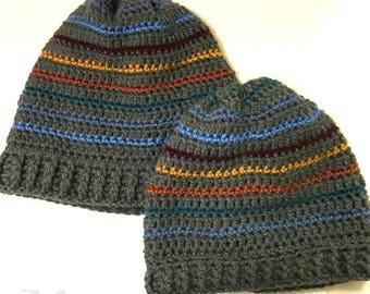 Slouchy crochet hat - stripes adult