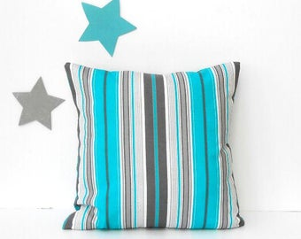 Grey Turquoise Striped Outdoor Pillow Cover, 18x18 White Charcoal Summer Accent Pillow, Patio, Porch or Deck Pillow Sham, Sunroom Pillow