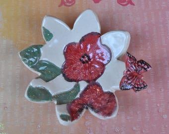 Butterfly ring holder. Poppy flower jewelry holder. Ceramic flower dish. Monarch ring holder. Spoon rest. Chopstick holder