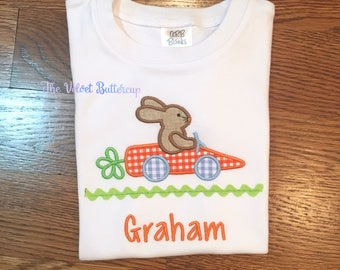 Easter Shirt - Bunny Shirt - Bunny Car - Bunny Car Shirt - Easter Applique Shirt - Easter Bunny Applique