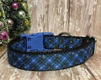 """3/4"""" Christmas Blue Plaid Dog Collar - Holiday - Gift - Pet Gift - Dog Gift - Seasonal"""