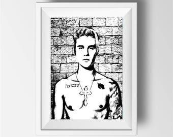Justin Bieber poster print,  Justin Bieber art print