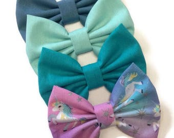 Unicorn Bow | Fabric Bow | Handmade Hair Bow | Hair Clip | Headband
